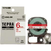 テプラ PROテープ 白ラベル 6mm 赤文字