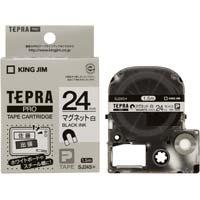 テプラ PROテープ 白 マグネット 24mm 黒字 ×5 SJ24S×5