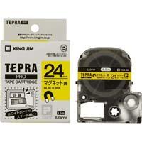 テプラ PROテープ 黄 マグネット 24mm 黒字 ×5 SJ24Y×5