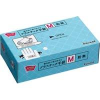 衛生的に取り出せるプラスチック手袋粉無M 100枚