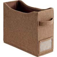 取っ手付き持ち運べるファイルボックス横 濃茶