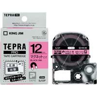 テプラ PROテープ マグネット 桃色 12mm 黒文字 SJ12P