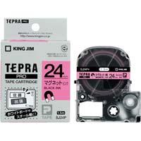 テプラ PROテープ マグネット 桃色 24mm 黒文字 SJ24P